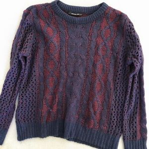 Ash rain and oak cable knit purple and red Sweater